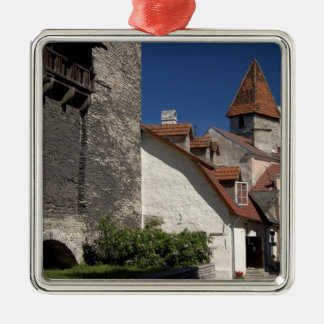 Tallin, Estonia. Tallin is somewhat of an Silver-Colored Square Ornament