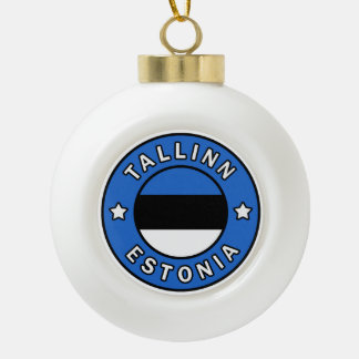Tallinn Estonia Ceramic Ball Christmas Ornament