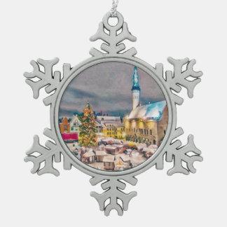 Tallinn Estonia Christmas Market Pewter Snowflake Ornament