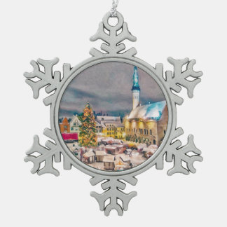 Tallinn Estonia Christmas Market Snowflake Pewter Christmas Ornament