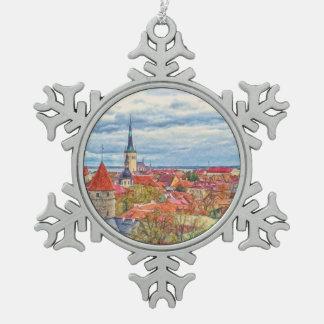 Tallinn Estonia Christmas Pewter Snowflake Ornament