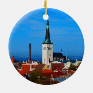 Tallinn, Estonia Round Ceramic Ornament
