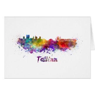 Tallinn skyline in watercolor card