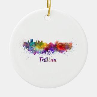 Tallinn skyline in watercolor ceramic ornament