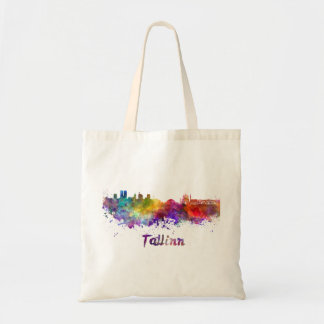Tallinn skyline in watercolor tote bag