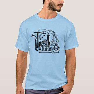 Tallinn Woodcut Logo Style Print T-Shirt