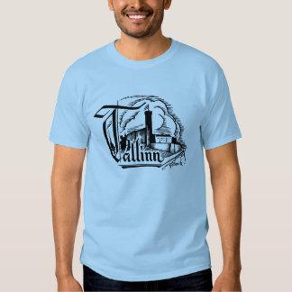 Tallinn Woodcut Logo Style Print T Shirts