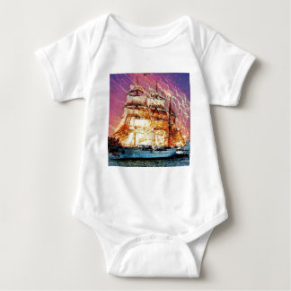 tallship and fireworks baby bodysuit
