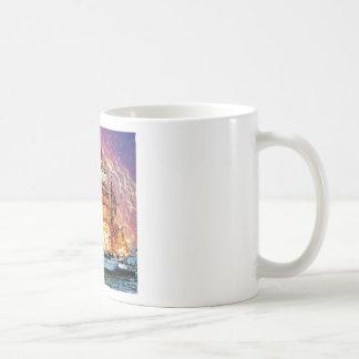 tallship and fireworks basic white mug