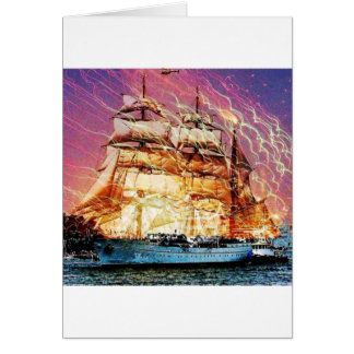 tallship and fireworks greeting card
