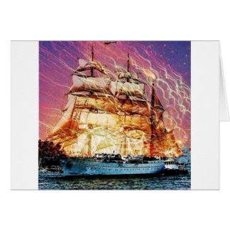 tallship and fireworks greeting card