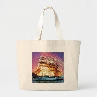 tallship and fireworks jumbo tote bag
