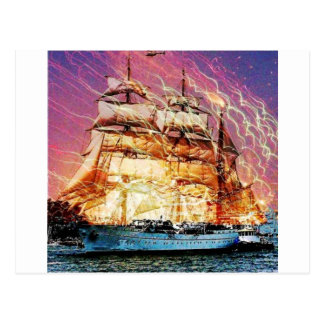 tallship and fireworks postcard