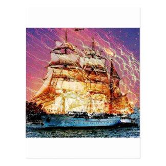 tallship and fireworks postcard