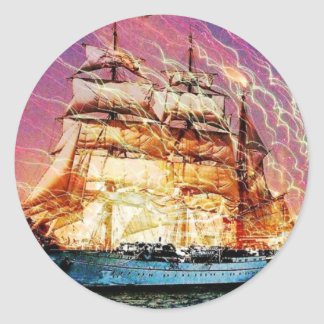 tallship and fireworks round sticker
