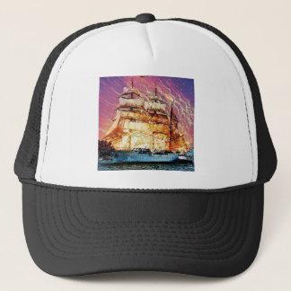 tallship and fireworks trucker hat