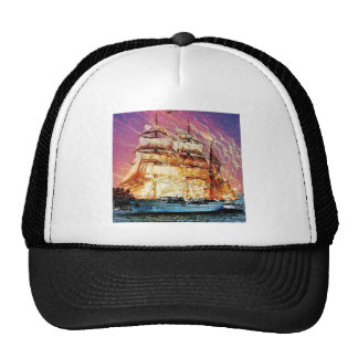 tallship and fireworks trucker hat