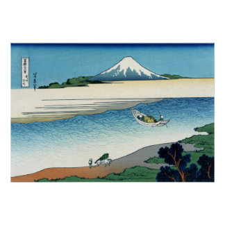 Tama River in the Musashi Province, Hokusai Poster
