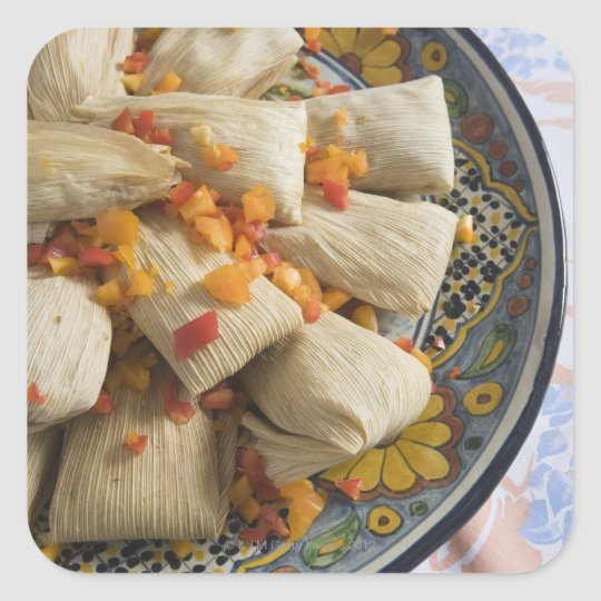 Tamales on decorative plate square sticker