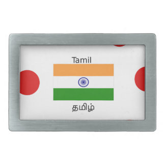 Tamil Language And India Flag Design Rectangular Belt Buckles