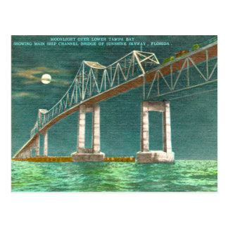 Tampa Bay Vintage Old Sunshine Skyway Postcard