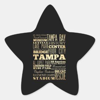 Tampa City of Florida State Typography Art Star Sticker