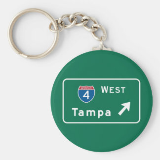 Tampa, FL Road Sign Keychain