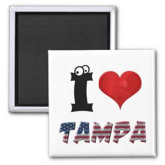 Tampa Florida American Flag Funny Typography Square Magnet