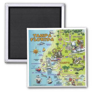 Tampa Florida Cartoon Map Square Magnet