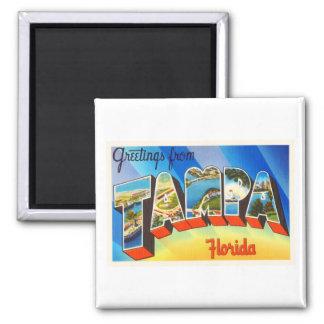 Tampa Florida FL Old Vintage Travel Souvenir Square Magnet