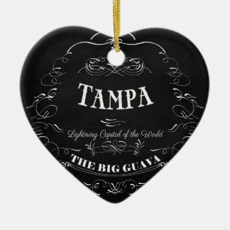 Tampa. Florida - Lightning Capital of the World Ceramic Heart Ornament