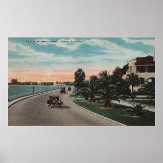 Tampa, Florida - View of Bayshore Blvd Poster
