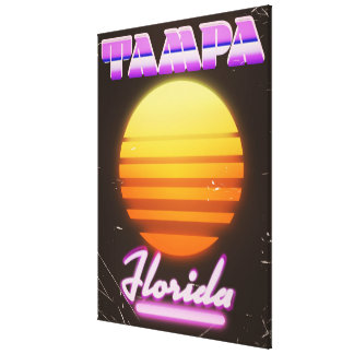 Tampa Florida vintage 80s travel poster Canvas Print