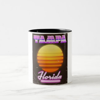 Tampa Florida vintage 80s travel poster Two-Tone Coffee Mug