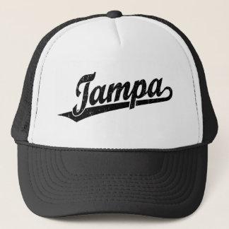 Tampa script logo in black distressed trucker hat