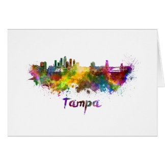 Tampa skyline in watercolor card