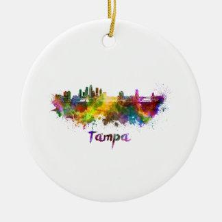 Tampa skyline in watercolor ceramic ornament