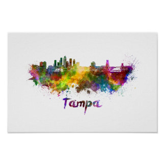 Tampa skyline in watercolor poster