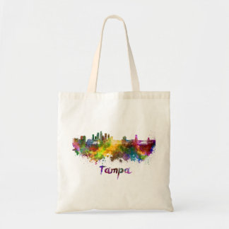 Tampa skyline in watercolor tote bag