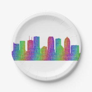 Tampa skyline paper plate
