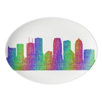 Tampa skyline porcelain serving platter