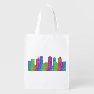 Tampa skyline reusable grocery bag
