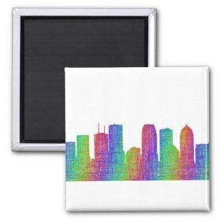 Tampa skyline square magnet