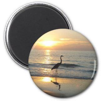 Tampa Sunset Crane Indian Rocks Beach 2 Inch Round Magnet