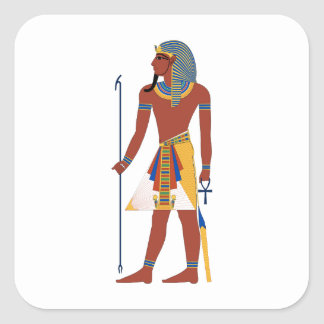 Tan Ancient Egyptian Man in Headdress Holding Ankh Square Sticker