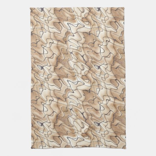 Tan and Beige with Black Squiggly Lines Hand Towels