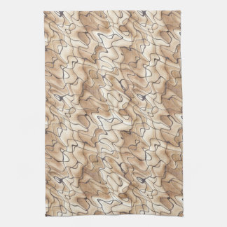 Tan and Beige with Black Squiggly Lines Kitchen Towel