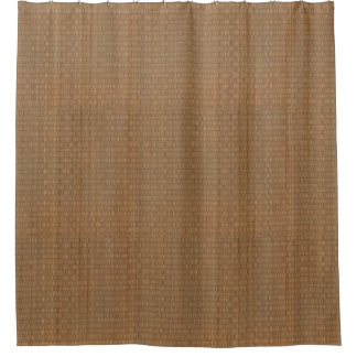 Tan and Brown Bamboo Straw Mat Shower Curtain