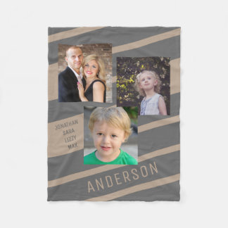 Tan and Charcoal Custom Family Photo Personalized Fleece Blanket