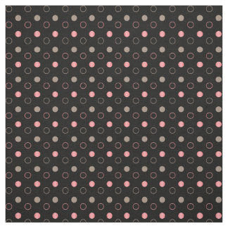 Tan and Coral Polka Dots Circles Fabric